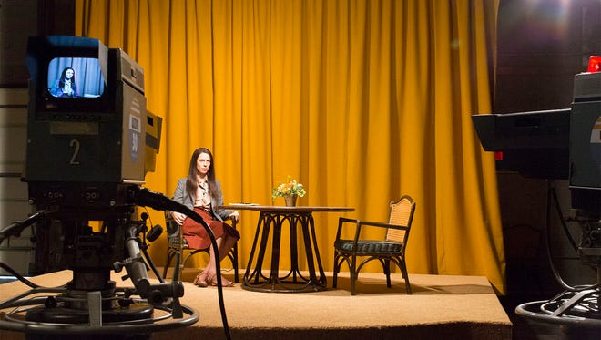 """Rebecca Hall as Christine in a scene from the movie """"Christine"""" directed by Antonio Campos."""