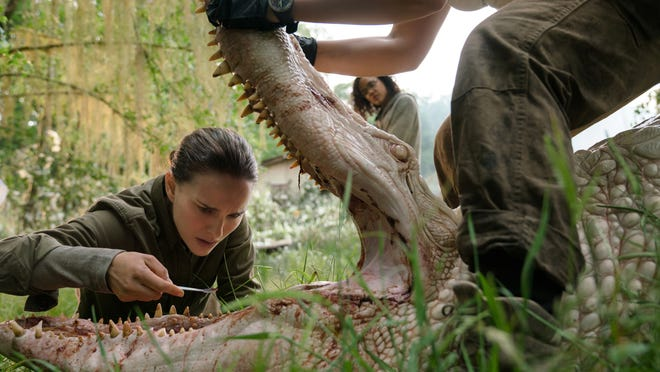 """Natalie Portman, from left, Tessa Thompson and Gina Rodriguez in a scene from """"Annihilation."""""""