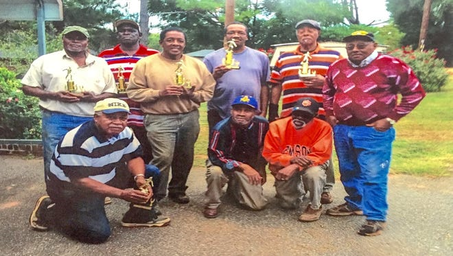 Shown are Brown's Derby 2016 Horseshoe Tournament winners. Kneeling (from left) are John C. Brown, Jimmy Jones and Bobby Brown. Standing (from left) are Dave Thomas, Anthony Davis, Tommy Crosby, Carl Hawthorne and Eugene Hicks; and in the back row is Leroy Garrison.