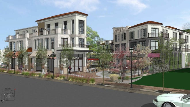 An artist's rendering of planned mixed-use complex, including apartments and commercial space, at site of the now-closed Lupe's Mexican Restaurant in downtown Thousand Oaks.