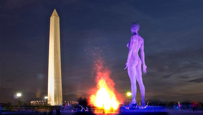 An artists rendering of what R-Evolution would look like on the National Mall, not to scale or showing the correct positioning.