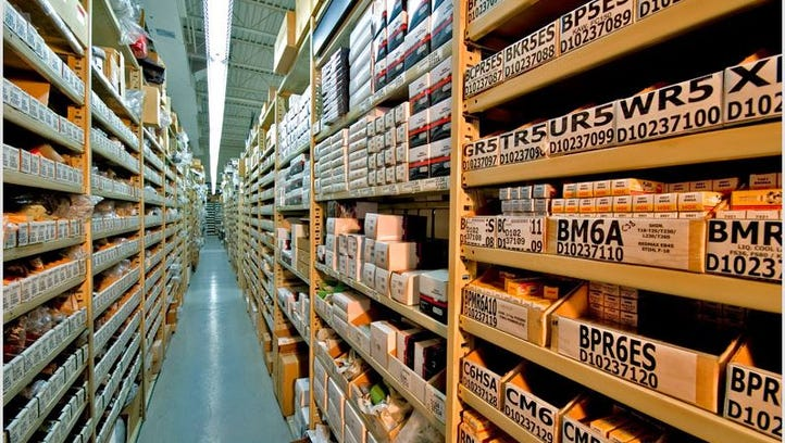 Parts for power tools fill the shelves at Weingartz Supply Co.'s store in Farmington Hills. The company announced a joint venture with Ball Equipment, based in Sandusky, to boost e-commerce by selling more parts online.