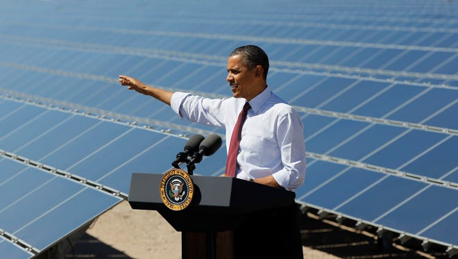 President Obama speaks at Copper Mountain Solar 1 Facility in Boulder City, Nev., on March, 21, 2012.