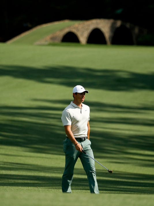 Rory McIlroy, of Northern Ireland, walks to the 13th green during practice for the Masters golf tournament at Augusta National Golf Club, Tuesday, April 3, 2018, in Augusta, Ga. (AP Photo/Charlie Riedel)
