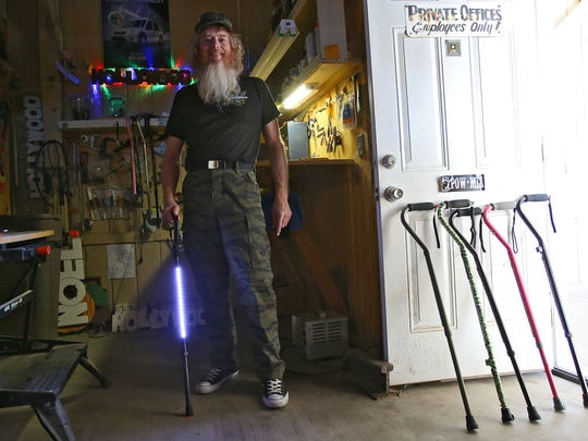 Gary Caldwell customizes walking canes with lights, sirens, pepper spray and laser pointers from his Thousand Palms home.