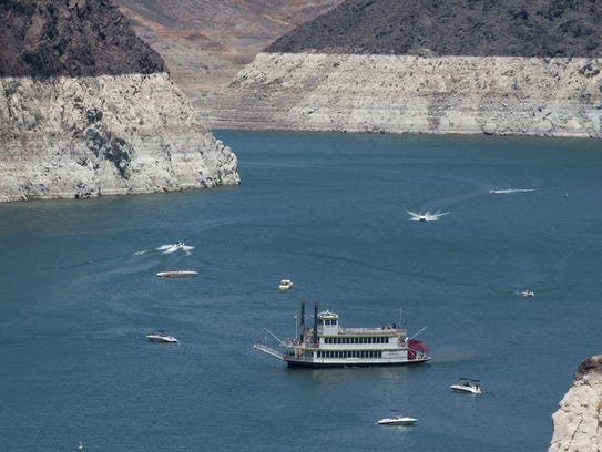 The rock face around Lake Mead shows how the water