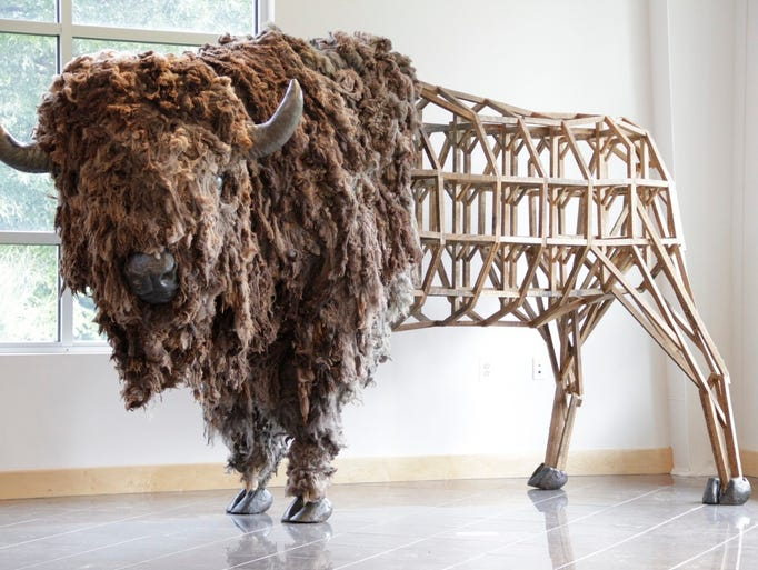 The life-size bison sculpture being designed by Emily