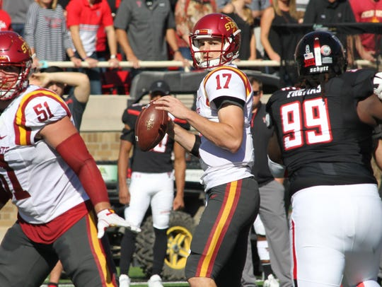 Iowa State Cyclones quarterback Kyle Kempt (17) looks