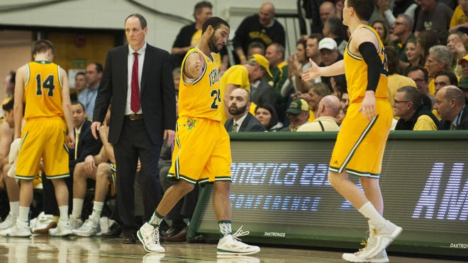 Vermont's Dre Wills, left, and Ernie Duncan are among the four Indiana natives on the Catamounts roster. UVM plays at Butler tonight at 7. Duncan's brother, Everett, and Josh Speidel are the other two Hoosiers.