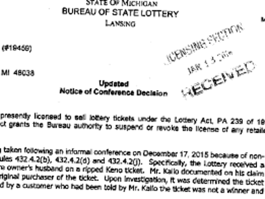 Records show Don Kallo of Nick's Party Stop in Clinton Township told a customer a Keno ticket was not a winner and then tried to cash the $2,517 ticket himself.
