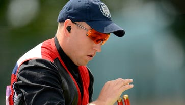 Vincent Hancock (USA) competes in skeet men qualification during the 2012 London Olympic Games at Royal Artillery Barracks.