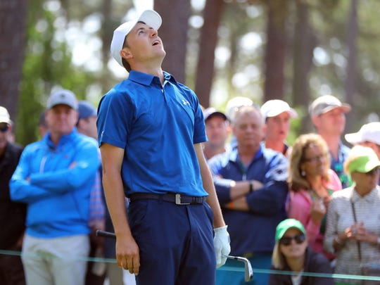 Jordan Spieth reacts to a bad tee shot on four during the second round of the Masters golf tournament at Augusta National Golf Club in Augusta, Ga., Friday, April 6, 2018. (Curtis Compton/Atlanta Journal-Constitution via AP)