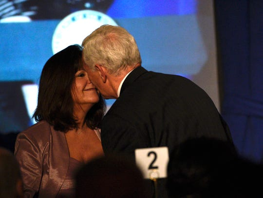 Vice President Mike Pence kisses his wife, Second Lady