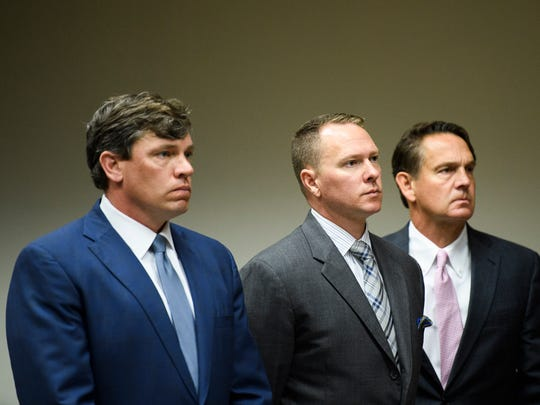Suspended Greenville County Sheriff Will Lewis appears for his arraignment hearing at the Greenville County Courthouse on Thursday, April 19, 2018.