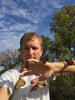 You might call him the monarch whisperer. Evendale resident Chris DeRhodes with just a few of 350-plus butterflies he raised and released this summer and fall.