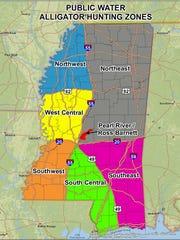 Mississippi alligator hunting zones.