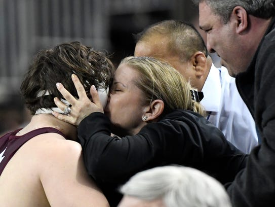 Don Bosco Prep's Peter Acciardi is kissed by his mother