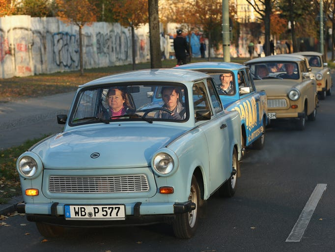 """The iconic Trabant (nicknamed """"trabi""""), produced in"""