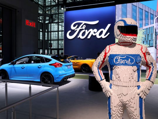 A Lego model at the Ford display at the New York International Auto Show at the Javits Center in New York, March 29, 2018.