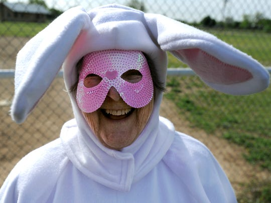 Carolyn Atkins has played the Easter Bunny for several years at the Lawn Easter Egg Hunt, shown here in 2017. Her mother, Lucille Ford, played the role for about 30 years.