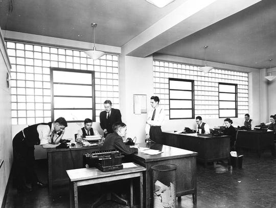 Asheville Citizen-Times newsroom in January 1939