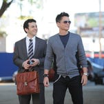 Fred Savage, left, and Rob Lowe star in the Fox pilot 'The Grinder' about a lawyer and his brother, a former TV lawyer who might rejoin the family firm.