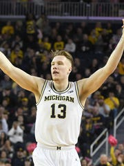 Ignas Brazdeikis and Michigan dropped one spot to No.