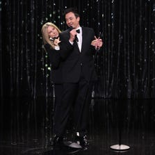 Host Jimmy Fallon and Barbra Streisand sing a duet on September 15, 2014.