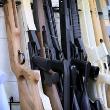 Air rifle prototypes line the wall in the industrial design office at Crosman Corp. Ontario County.