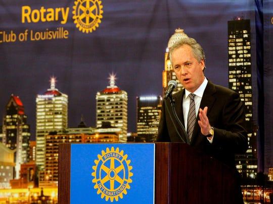 Louisville Mayor Greg Fischer addresses the Rotary