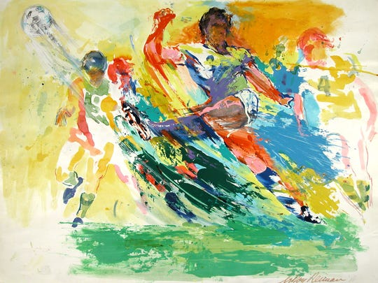"""Soccer Players painting by LeRoy Neiman is part of an exhibit, Action! An Exhibition of LeRoy Neiman's Champions,"""" loaned to Muskingum University by The LeRoy Neiman Foundation and displayed in Ohio for the first time."""