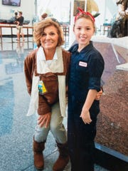 Dressed as her idol Amelia Earhart, Debbie Naylor,