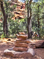 This is an unofficial trail marker near the Fay Canyon