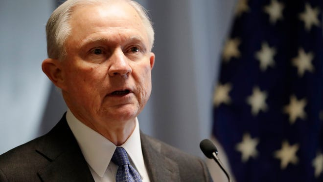 In this April 28, 2017 file photo, Attorney General Jeff Sessions speaks in Central Islip, N.Y. Justice Department officials have been weighing new guidance that would encourage prosecutors to charge suspects with the most serious offenses they can prove, a departure from Obama-era policies that aimed to reduce the federal prison population and reshape the criminal justice system.  (AP Photo/Frank Franklin II, File)