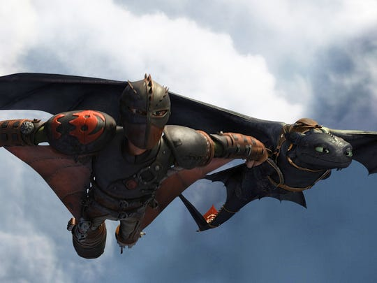 Hiccup (left, voiced by Jay Baruchel) and Toothless from the animated film 'How To Train Your Dragon 2.'