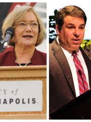 Left: Former UIndy president Beverley Pitts. Right: UIndy president Robert Manual.