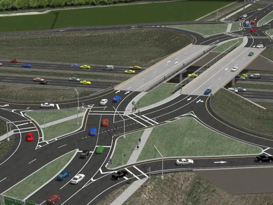 A rendering of the future Interstate 95 diverging diamond interchange at Viera Boulevard.
