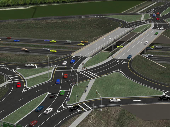 A rendering of the future Interstate 95 diverging diamond interchange at Viera Boulevard.