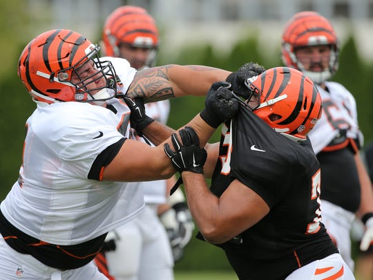 Cincinnati Bengals offensive guard Alex Redmond, left, isn't afraid to mix it up -- even with teammates.