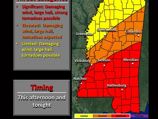 Mississippi severe weather potential map