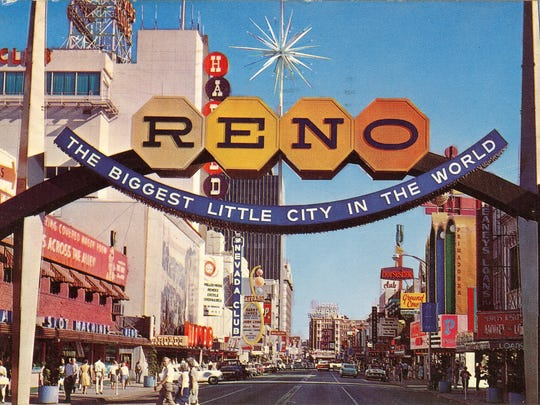 The second Reno Arch was erected in 1963 to commemorate Nevada's 100th year as a state. It stayed in downtown Reno until 1987 and was later given to Willits, California.