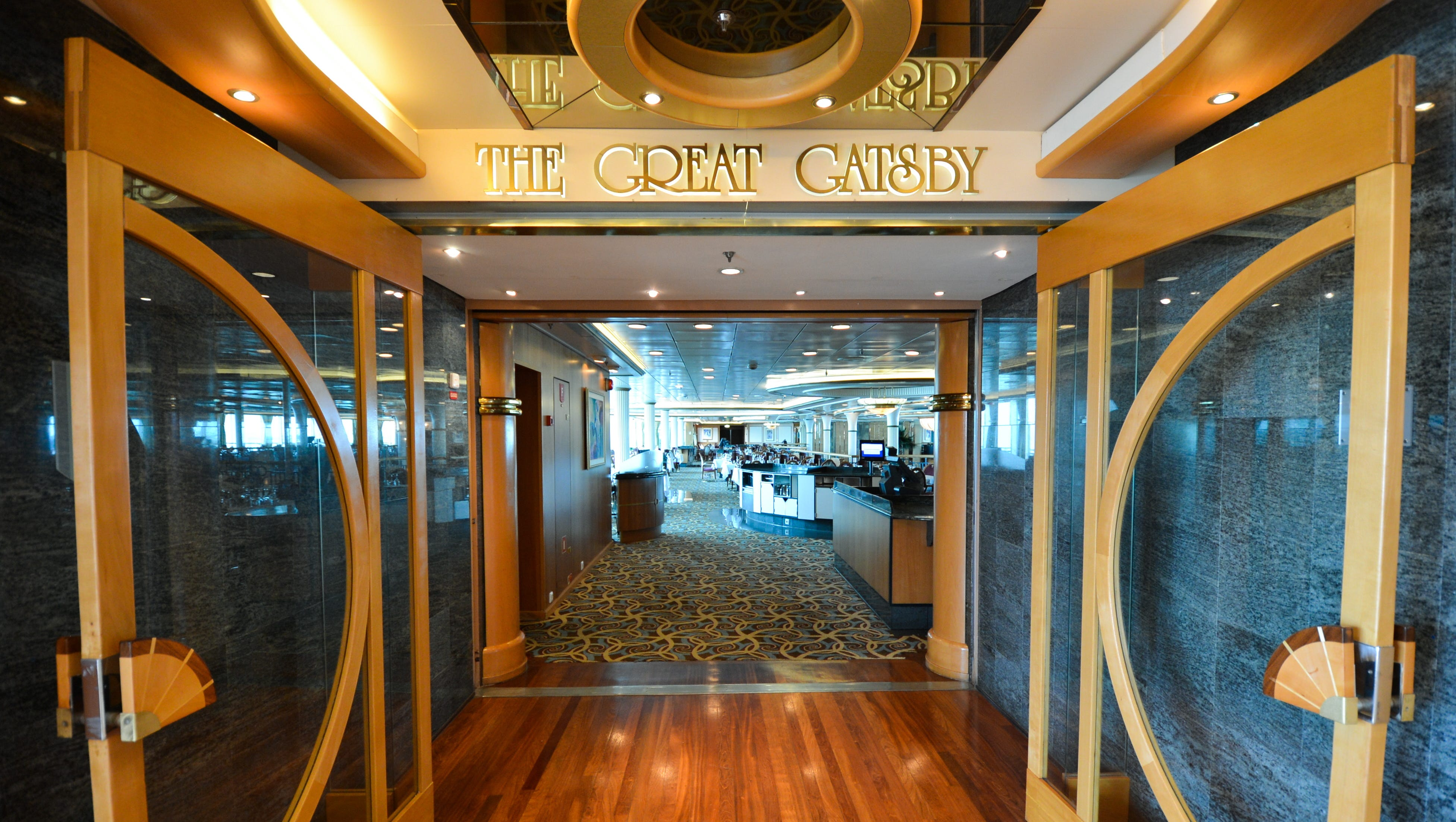 The main eatery on Grandeur of the Seas is the 1920s-themed Great Gatsby Dining Room, which spans two decks at the back of the ship.