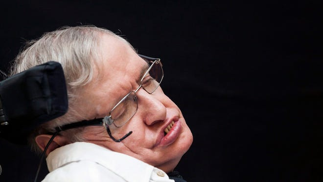 British physician Stephen Hawking announces winners of the Stephen Hawking medals during an event held in Guia de Isora's Island, Tenerife, Canary Islands, Spain.