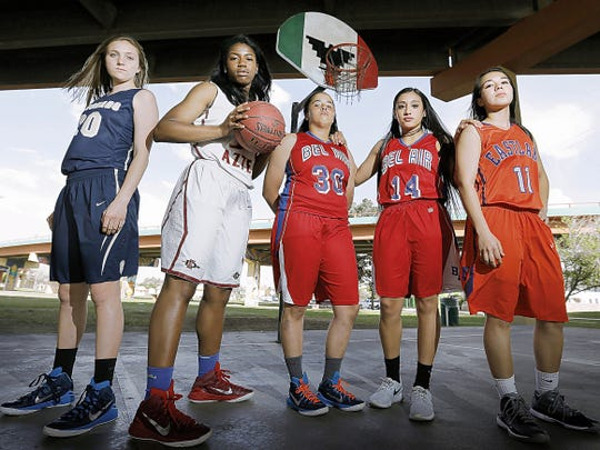 The El Paso Times' 2015 All-City Girl's First Team consisted of Meagan Bean of Coronado, from left, Adeola Akomolafe of El Dorado, Shannon Powell of Bel Air, Pam Herrera of Bel Air and Caitie Aguirre of Eastlake.