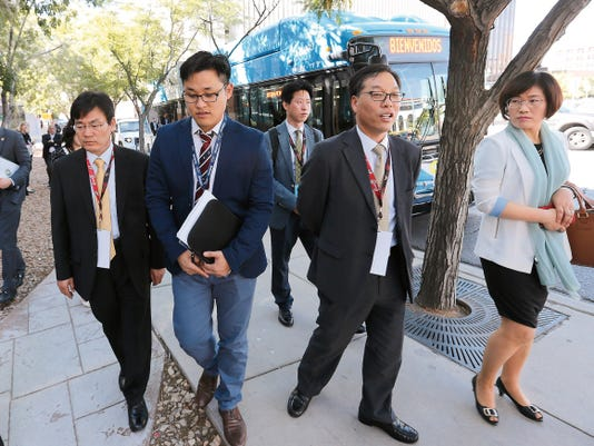 Dignitaries from Korea and several other countries arrived at City Hall aboard a Sun Metro bus Wednesday to attend a ceremony to announce Borderplex Alliance initiatives to increase international investment in the El Paso region.