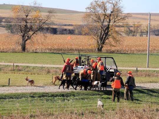 Donald Trump Jr. joins a pheasant hunting party with Rep. Steve King at the Hole Ôn the wall lodge in Akron Iowa Saturday, Oct. 28, 2017.
