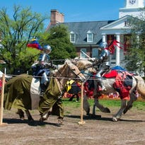Knights perform various equestrian demonstrations for community members at Salisbury University on Saturday afternoon.