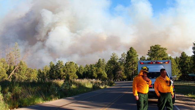 Emergency officials used the Circle Cross R.V. Park as a staging area for the wildfire in Timberon on Wednesday evening.
