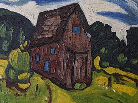 """UNTITLED LANDSCAPE"" 1938. William H. Johnson. Oil on burlap,"