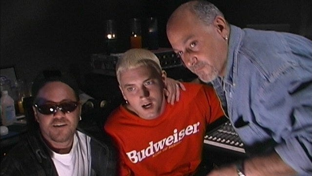 Eminem with the Bass Brothers at the Mix Room studio in 1999: Mark Bass (left), Eminem and Jeff Bass.